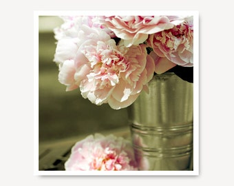 Pink Peony Flower Photography, shabby chic, pink peonies, soft, sage, moss green, antique, peony print, soft pink photo, cottage chic