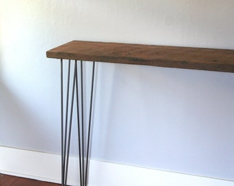 modern industrial console table from reclaimed douglas fir timber with steel midcentury modern hairpin legs