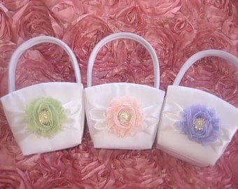Sale Shabby Flower Girl Basket  Ivory or White with  Blush Pink Flower other colors Wedding Basket
