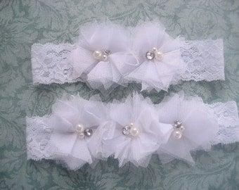 SALE - White Bridal Garter Wedding Garter Set with Toss Garter Tulle flowers and embellishments