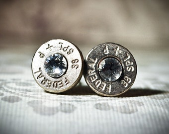 Bullet Studs- Gunpowder and Glitz Bullet Studs in Silver, Your choice of stone