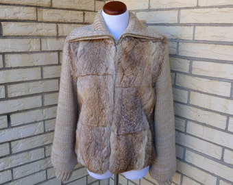 1980s Rabbit Fur Sweater Coat Blonde Fold Over Collar Oatmeal Knit Jacket France Womens Vintage Medium