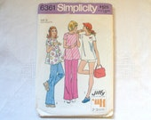 Vintage Maternity Sewing Pattern 1970s Womens Misses Jiffy Top Pants Shorts Size 12 Simplicity 6361