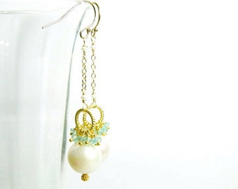 White Pearl Dangle Earring with Apatite in Gold:)  White Pearl Earring, Apatite and White Pearl Earring