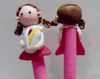 New Cute Polymer Clay Fimo Girl with Corn Pen