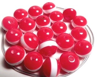 10 Resin Acrylic Rainbow Red White Stripe Multicolored Round Beads 11mm