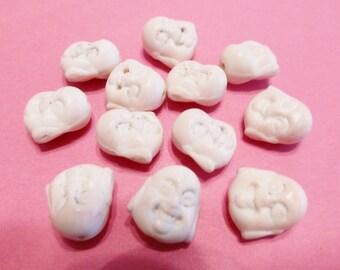 New  5 Gemstone White Buddha Face Beads 15mm