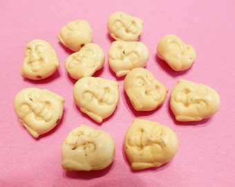 New  5 Gemstone Yellow Buddha Face Beads 15mm