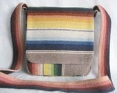 Boho/Southwestern/Eclectic woven multi color stripe upcycled blanket bag/Ethnic stripe with bohemian paisley print lining/messenger style