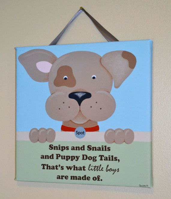 Snips and Snails Wall Art, Print, Original Painting, Canvas Wall Art