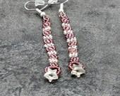 Star Earrings - Dangle Earrings - Beaded Earrings - Rose Earrings - Beadwork Jewelry - Crystal Earrings - Seed Bead Jewelry