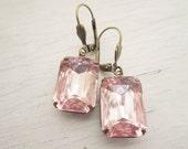 Blush Pink Earrings Estate Style Earrings Bridal Earrings Summer Wedding Jewelry Pink Earrings Bridesmaids Gift Dangle Earrings