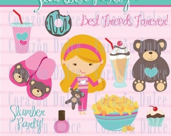 INSTANT DOWNLOAD Slumber party 2 Clip art -Personal and Commercial Use-