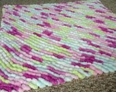 Mini Lovey Sized Pom Pom Blanket, Soft and Cuddly, Fuchsia, Chartreuse, White, Pale Blue, and Pale Pink Pom-Pom Baby Blanket, Photo Prop