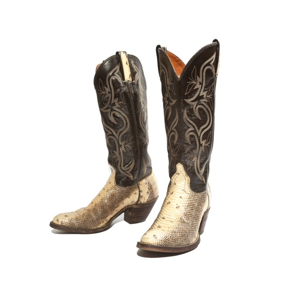 Western Snakeskin Cowboy Boots Black and Yellow Fancy Stitch J. Chisholm Women's size 5 1/2