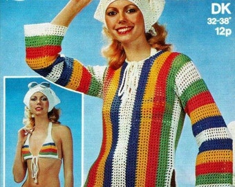 PDF Crochet Pattern For Ladies Retro Beach Wear - Bikini,  Cover Up Overtop & Scarf Set - Instant Download