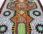 Cross, Mosaic, Original, OOAK, Christian Art, religious,