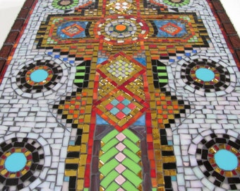 Cross, Mosaic, Original, OOAK, Christian Art, religious,