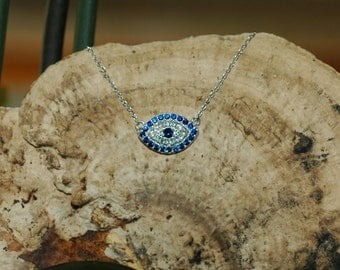 Evil Eye Necklace/Pendant, CZ evil eye, Gift for her, Good Luck charm