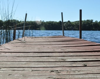 "Dock on Blue Water, Fine Art Photograph, ""At the Lake"""