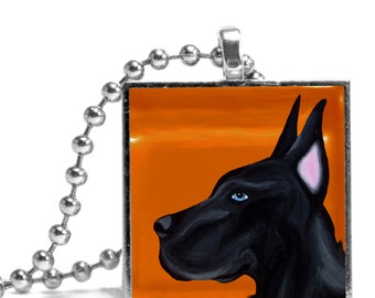 Great Dane in Orange Necklace