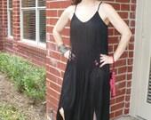 70s does 20s Black Fringe Flapper Diagonal hem New Leaf California dress by KitKatCabaret on Etsy