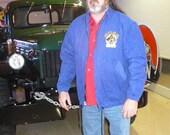 Vintage early 90s Boss Mechanics Dark Blue cotton lined Jacket Mens Size XL by KitKatCabaret on Etsy