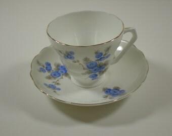 Vintage Teacup and Saucer // Blue Flowers  - Gold Rim  // Radfords