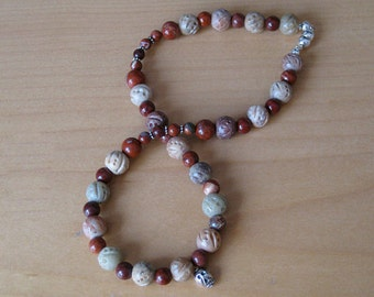 Soapstone and jasper with silver skull necklace: charity donation