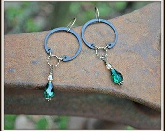 Green Goddess Assemblage Earrings handmade jewelry gift