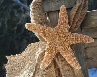 Beach Wedding Decor, Starfish & Burlap Beach Chair Decor, Bridal Shower, 3 pcs