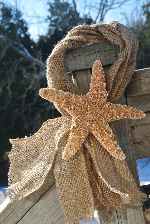 Beach wedding decor starfish burlap chair
