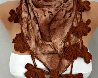 ON SALE - Earth Tones - Brown Floral Scarf,Fall Winter Scarf,Bohemian,Christmas,Holiday Gift,Women Scarves