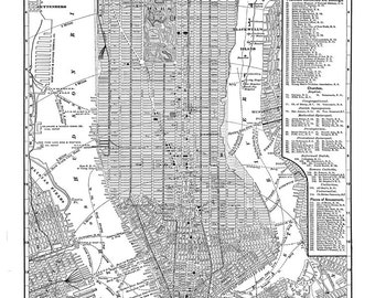 New York City Map -  New York Newark Brooklyn Vintage Print Poster