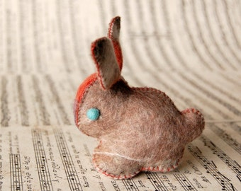 Beige Felted Bunny Rabbit Toy -- Unique animal soft sculpture -- Ecofriendly felt animal