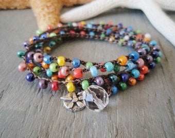 Multi color crochet wrap bracelet necklace 'Summer Sol' sterling silver sun flower dangle, tropical colorful surfer chic beach boho