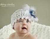 Baby Crochet Hat Pattern: 'Fairy Dust' Fabric Flower, Vintage Cloche, Christening,  (Newborn, 6 mo, 12 mo)