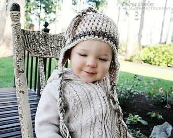 Crochet Hat Pattern: 'Wee Willow', Earflap Toque, Multi Sizing