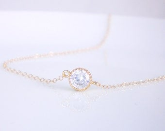 CZ solitaire necklace on gold filled chain, layering necklace, wedding jewelry, silver cz solitaire necklace