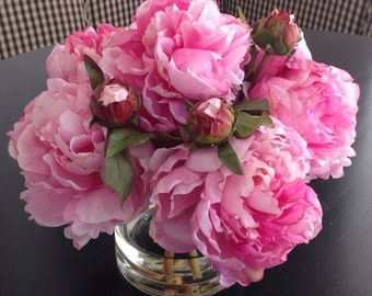 Fine Silk Floral Arrangement Faux Pink Peonies In Round Vase with Illusion Faux Water