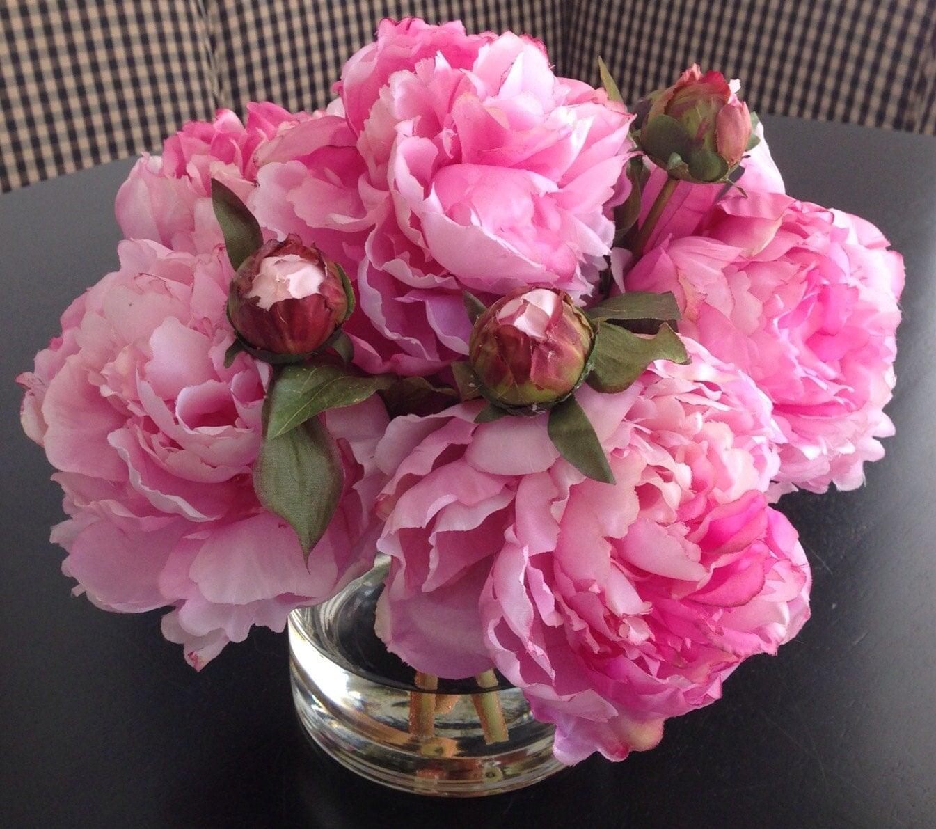 Peony Arrangements: Fine Silk Floral Arrangement Faux Pink Peonies In Round Vase
