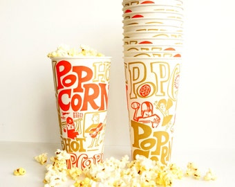 Vintage Paper Popcorn Cups with Retro Graphics in Orange, Gold, and White, Set of 12 (c.1970s) - Retro Fun, Never Used, Stored Sealed