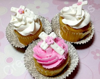 Vanilla Fondant Crosses for Standard Cupcake White Cross and Pink flower the perfect cupcake decorations