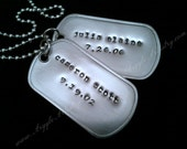 2 Custom Daddy Dog Tags -Brushed  Stainless Steel- Military Spec-  Personalized Gift for Men, Teens, Children ID Tags, Fathers Day