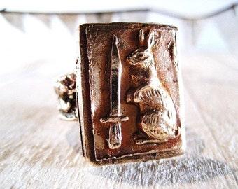 Little Rabbit and Dagger Bronze Ring