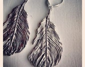 Silvery Feathers-Silver Feather Statement Earrings