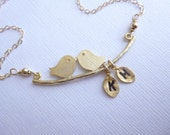 Love Birds with Initial Leaves and Gold Filled Chain -- Personalized Necklace