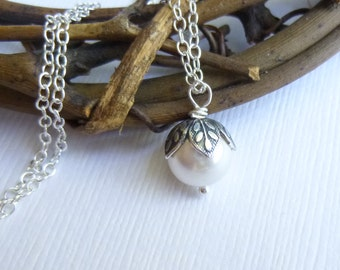 Pearl with Silver Vintage Style Petals Necklace on Sterling Silver Chain  -- Bridesmaids Gift