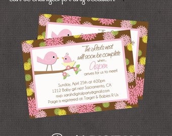 Birds Nest Baby Girl Invitation 4x6 or 5x7 digital you print your own- Design 13