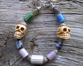 Chevron,silver beads,skulls bracelet 8 1/2 inch